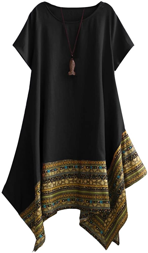 Minibee Women's Ethnic Cotton Linen Short/Long Sleeves Irregular Dress