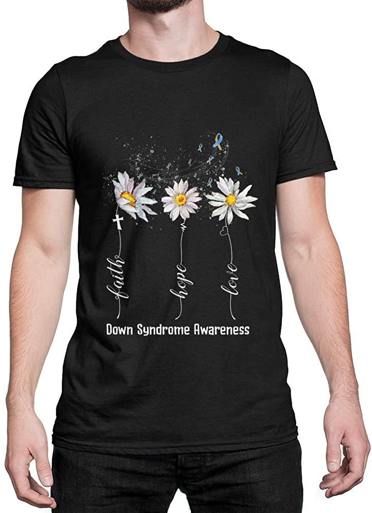 TEEBIM T Shirt Faith Hope Love Down Syndrome Awareness Flower Gifts Black Cotton Size S-3XL Black Size M