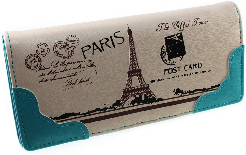 Vintage Style PU Leather Cute Paris Effiel Tower Cartoon Trifold Wallet Cash Coin Long Purse Card Holder for Women & Girls (Blue)