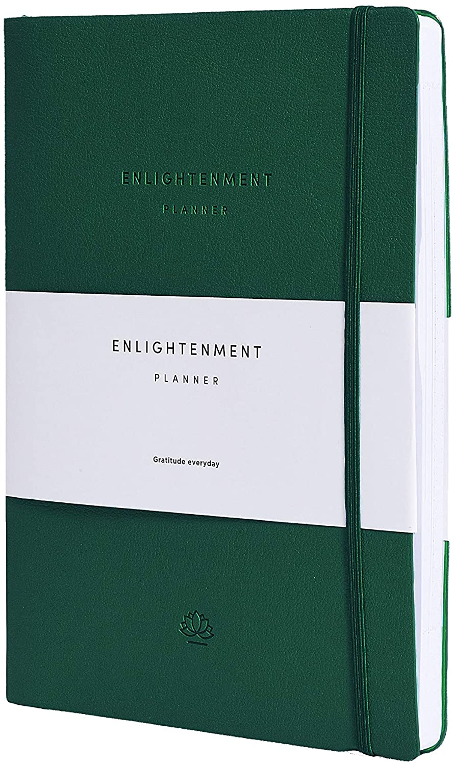 Enlightenment Planner - Track and Increase Productivity, Purpose, Mood, Meditation and Reflect. 12 Month. Undated with Inner Pocket. Daily, Weekly, Monthly View. (Made of PU Leather)