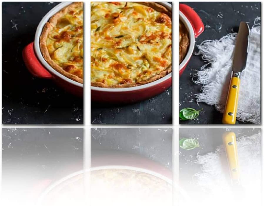 SALIZEN Leek Potato and Cheese Pie in Baking Dish 3 Pieces Wall Art Paintings Perfect Canvas Art Vivid Color Modern Style Home, Living Room, Bedroom, Hotel Decoration Gift