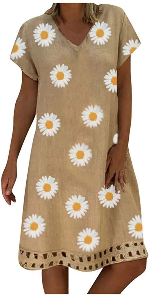 Shakumy Women Dresses Sunflower Printed Midi Dress Short Sleeve V Neck Summer Casual Loose Sundress Beach T Shirt Dress