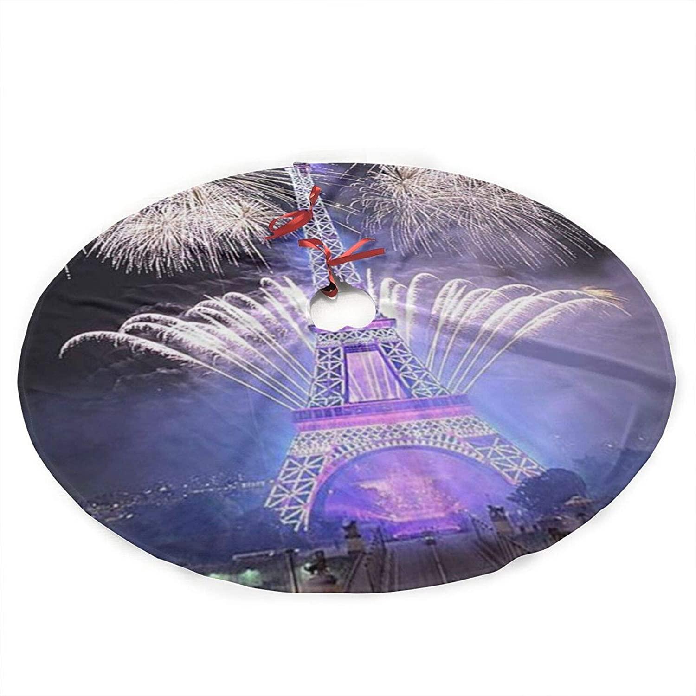 Neddelo Eiffel Tower Christmas Tree Plush Skirt,Xmas Tree Decorations for Farmhouse Party,Christmas Tree Skirt Decorations 36inches