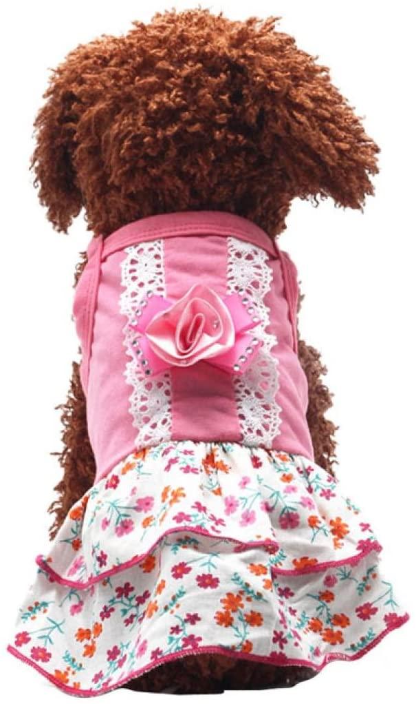 Pocciol Pet Dog Clothes Puppy Flower Skirts Dress Crystal Bowknot Lace Floral Pet Princess Beauty Clothes