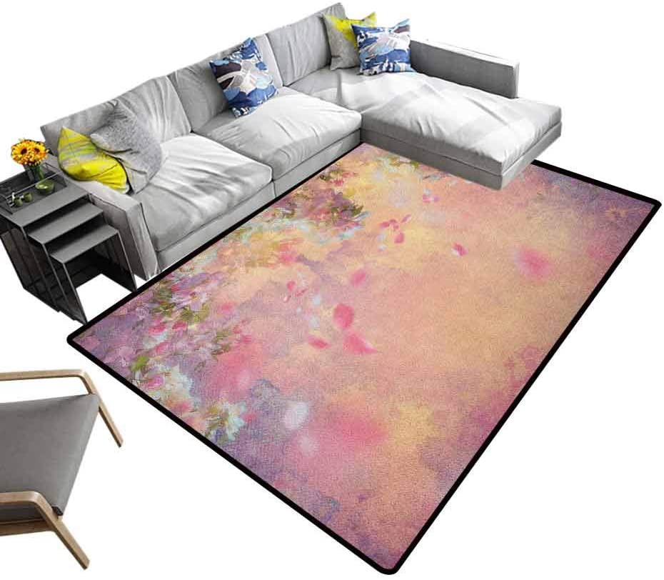 Bedside Carpet Nature, Super Soft Indoor Modern Area Rugs Abstract Artistic Composition of Japanese Flourishing Spring Nature in Home Bedrooms Floor Decorative Peach Lavander, 6.5 x 10 Feet