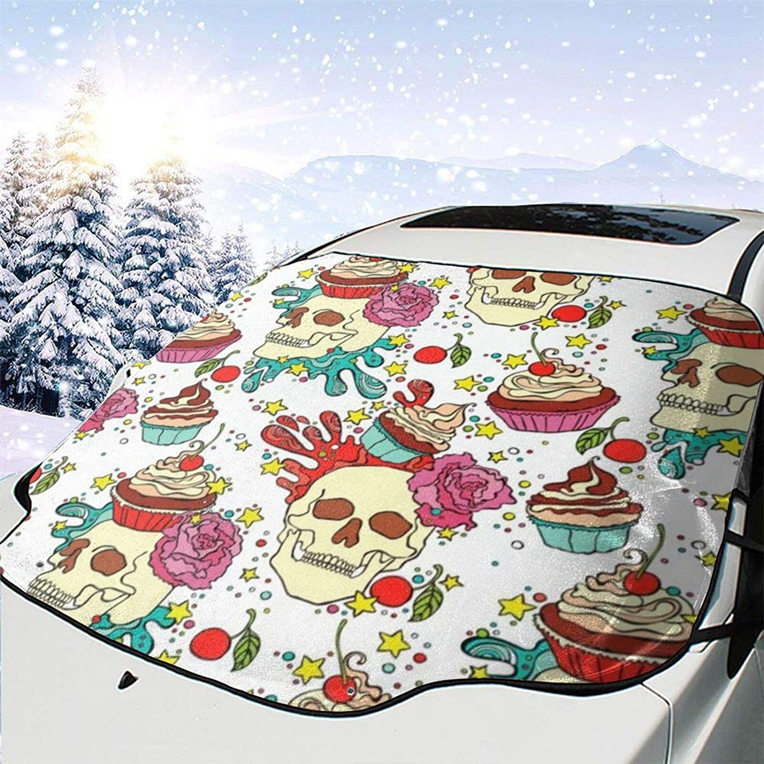 N\ A Car Windshield Snow Cover Sugar Skull Christmas Ice Removal Wiper Visor Protector All Weather Winter Summer Auto Car SUV Sun Shade for Front Windshield Window