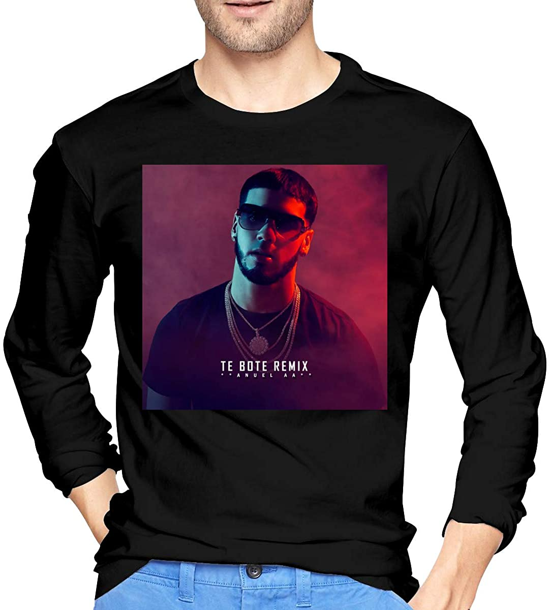 StephaSport Anuel AA Te Bote Remix Man's Cotton Classic Long Sleeve T-Shirts Casual Shirts