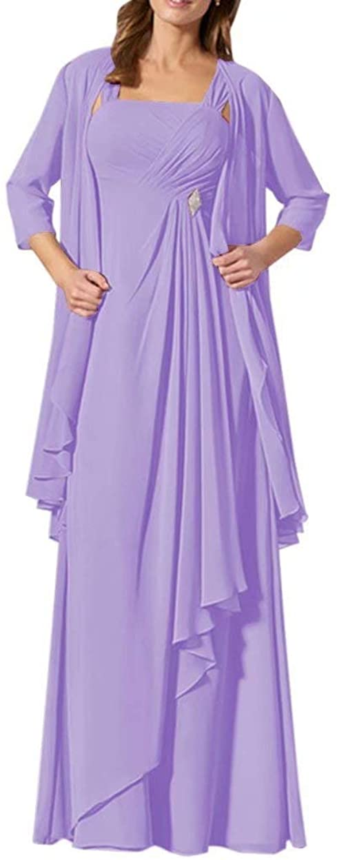 DDWW Chiffon Wedding Party Dress with Jacket Mother of The Bride Dress Two Piece Lavender, 18W