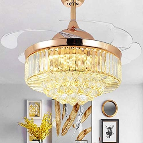 TANXINGKUI Invisible Crystal Fan LED Chandelier Home Living Room Bedroom Variable Frequency Ceiling Fan Light with Remote Control, Size:52 inch 1102 Three-Color Dimming,