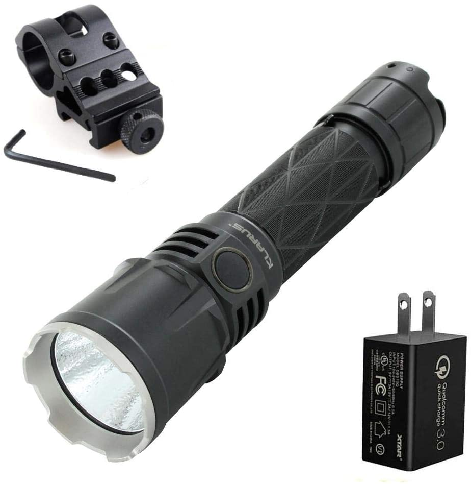 Klarus XT21X Rechargeable Tactical LED Flashlight - CREE XHP70.2 P2-4000 Lumens w/Battery, 3Amp Wall Adapter & Offset Mount