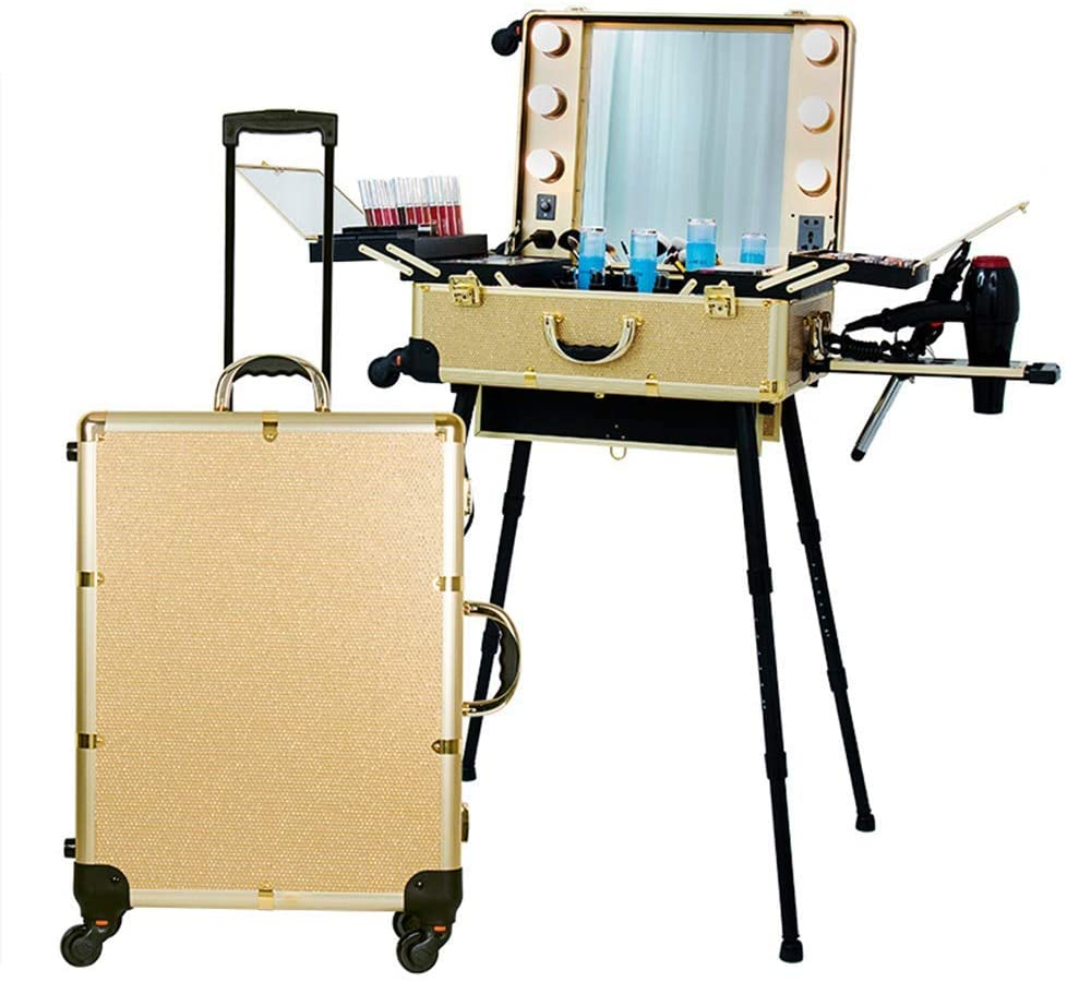 JYZ Rolling Makeup Case,Makeup Train Suitcase Barber Travel Trolley Organizer Box with LED Light Mirror Adjustable /360 Degree Rotating Universal Wheel