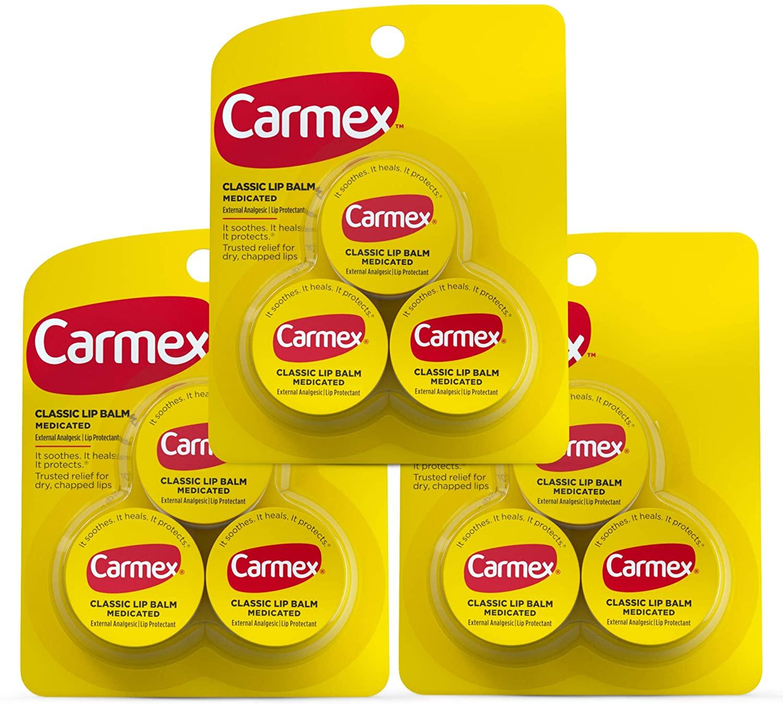 Carmex Classic Jar 0.25oz Medicated Lip Balm (3 Packs of 3)