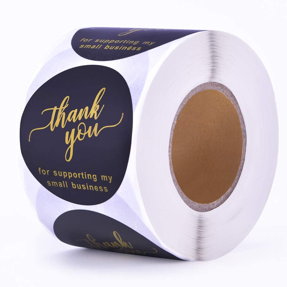 Thank You for Supporting My Small Business Stickers, 2 Inch Round Golden Font Permanent Adhesive 500 Labels per Roll for Store Owners, Crafts, Organizing, Jar and Canning Labels