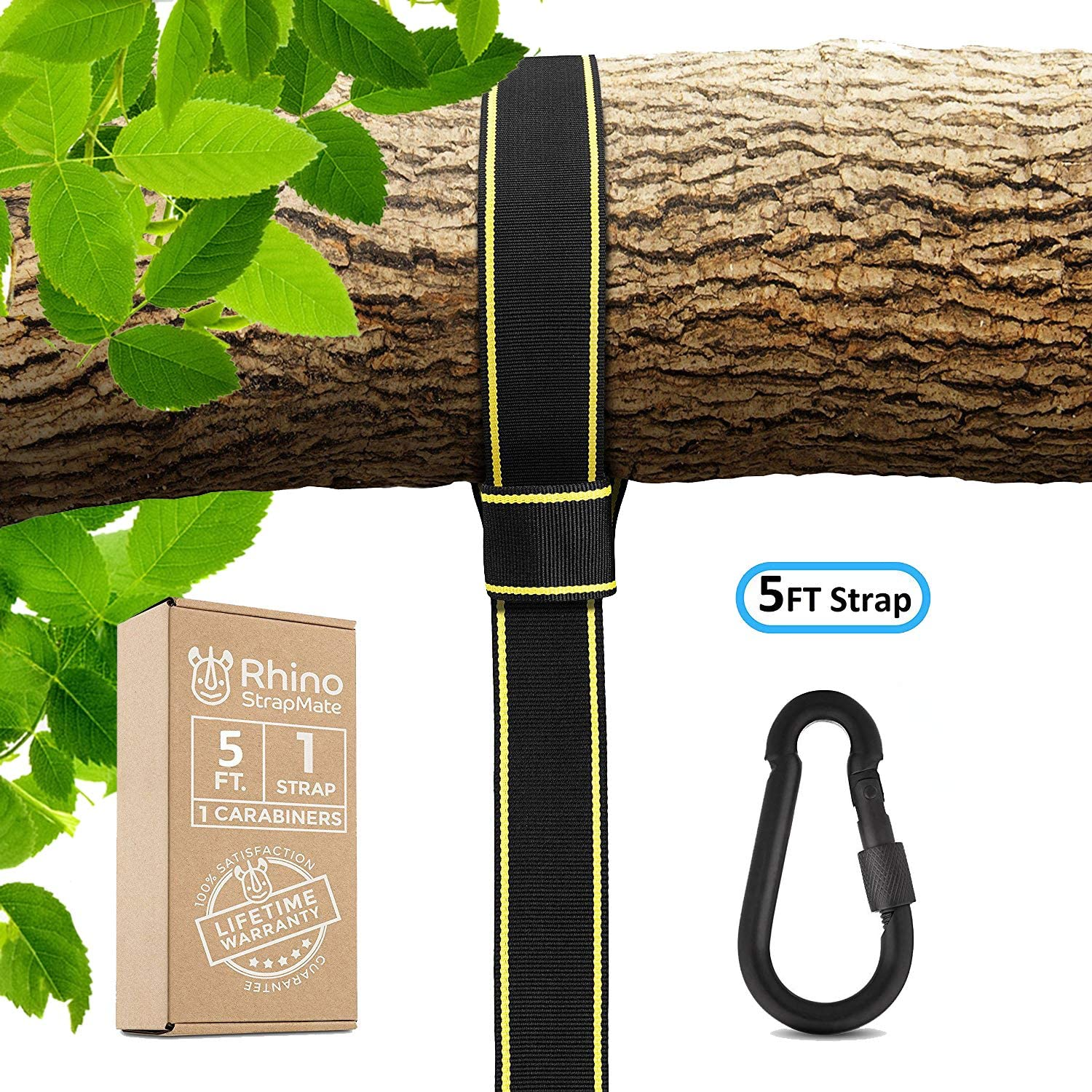 StrapMate Rhino Tree Swing Strap Hanging Kit - 5ft Strap, Holds 2800 lbs (SGS Certified), Fast & Easy Way to Hang Any Swing