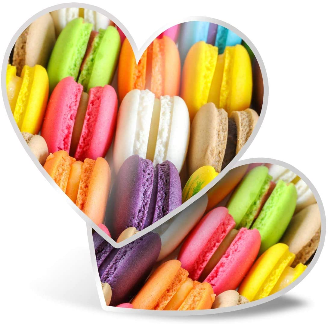 Awesome 2 x Heart Stickers 7.5 cm - Colourful Macaroons Treats Sweets Fun Decals for Laptops,Tablets,Luggage,Scrap Booking,Fridges,Cool Gift #16858