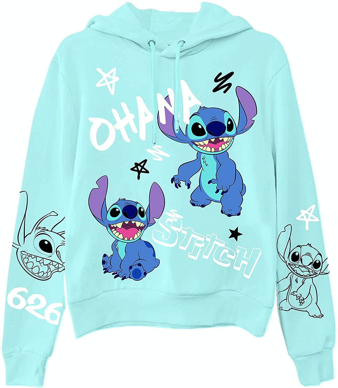 Ladies Lilo and Stitch Sweatshirt - Ladies Classic Lilo and Stitch Hoodie with Sleeve Print