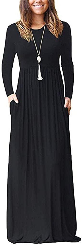 Shakumy Women's Casual Loose Long Sleeve Plain Empire Waist Plus Size Long Maxi Dresses Party Tunic Dresses with Pockets