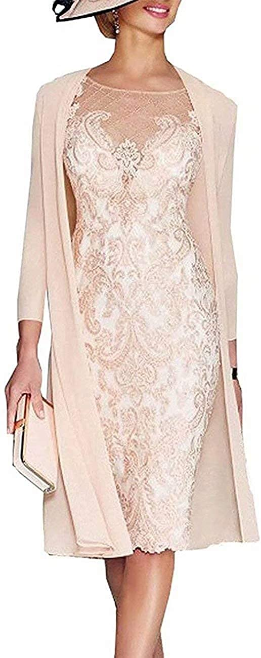 Lace Women's Mother of Bridal Dresses Chiffon Plus Two Pieces Formal Short Evening Gowns with 3/4 Sleeves Long Jacket