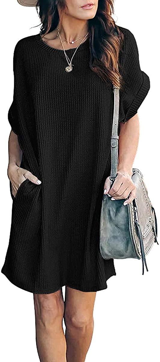 TARSE Women Casual Summer Waffle Knit T Shirt Dresses Short Sleeve Loose Dress with Pockets