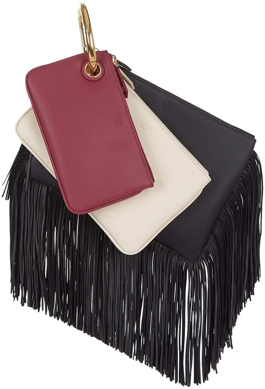 Fendi Women's Black Cherry Leather Fringe Triplette Multi Clutch Handbag 8BS001