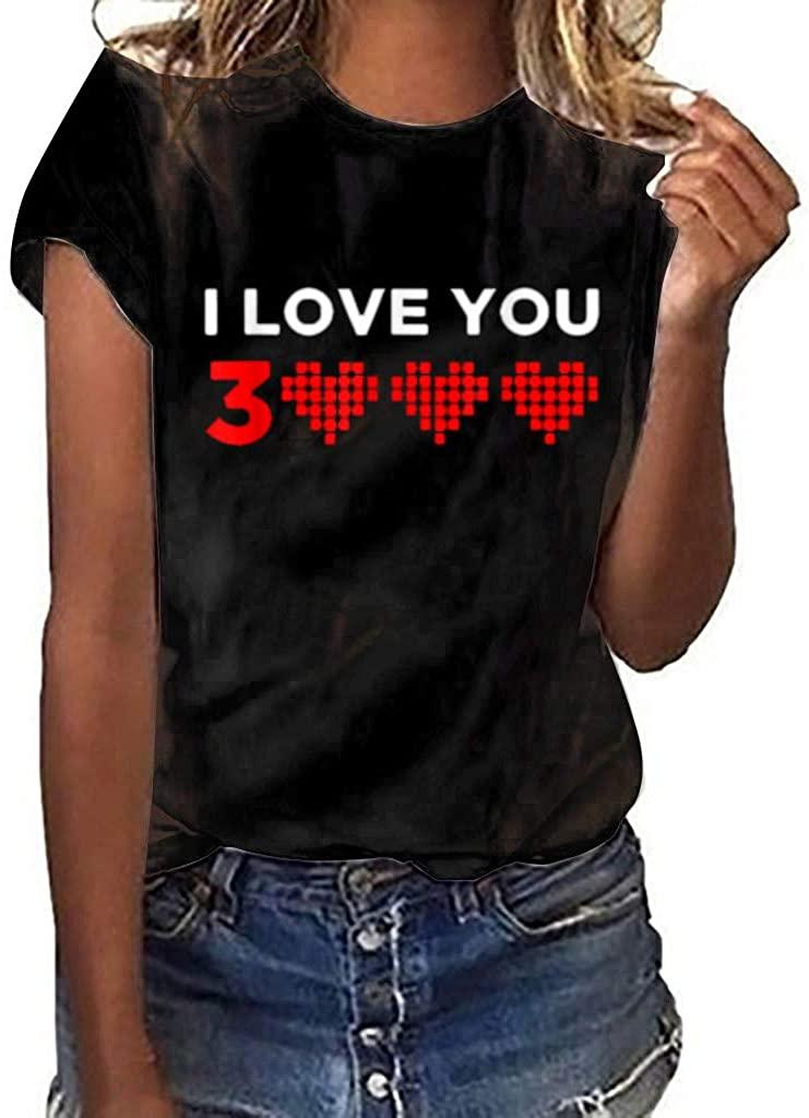 GLVSZ Cute Matching Couple Shirt Love Valentine Birthday I Love You 3000 T-Shirt
