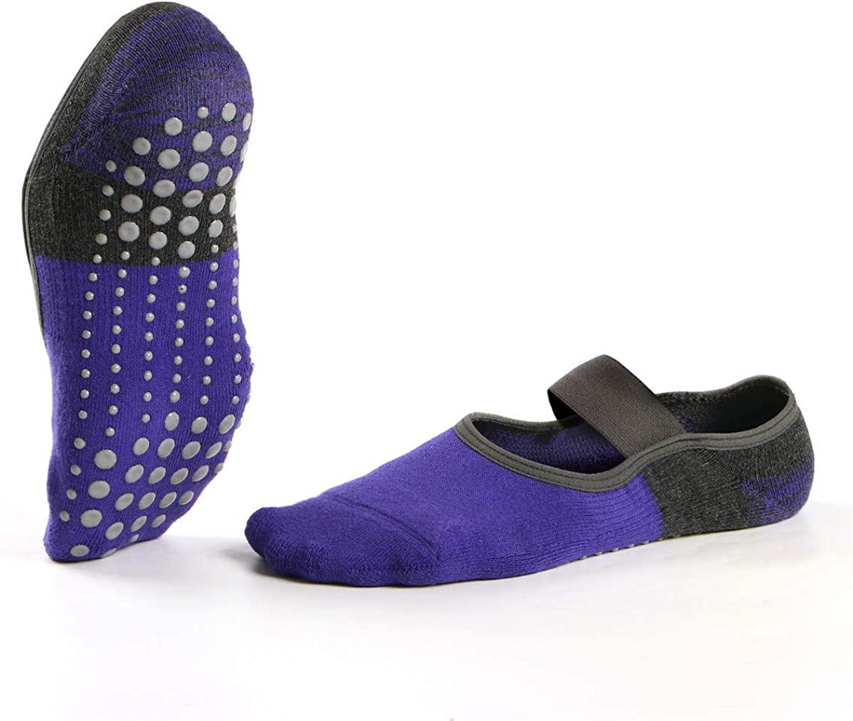 Yoga Socks with Grips for Women, Non-Slip Socks for Pilates, Barre, Ballet, Dance, Fitness 2Pairs Hicomlor
