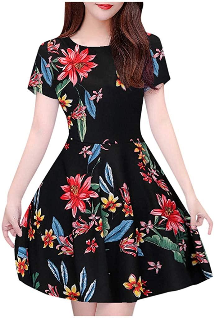 Shakumy Women Dresses Floral Print Crew Neck Short Sleeve Mini Dress Summer Casual Sundress Beach Party A-Line Midi Dress