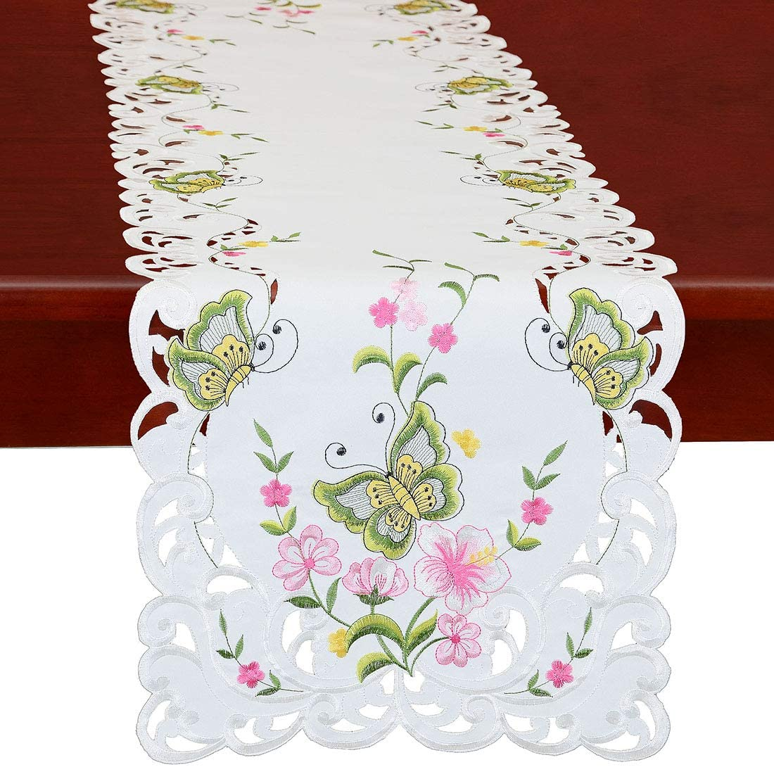 Simhomsen Spring Butterfly and Floral Table Runners, Dresser Scarf (Green, 14 × 70 Inch)