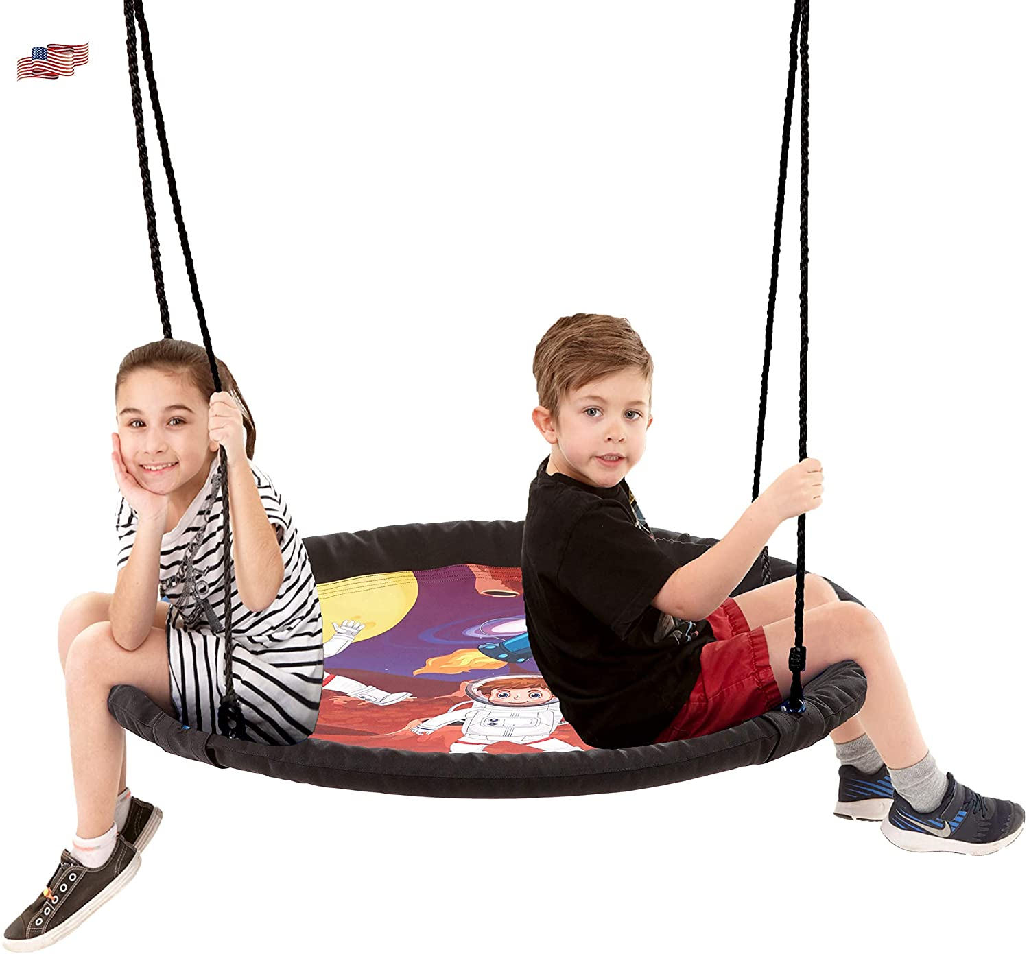 Smartsome Flying Saucer Tree Swing | 40 Inch | Steel Frame | Indoor & Outdoor | Hours of Fun | Hardware Included | Easy Assembly | Great Swing | Tree & Play Sets | Large Weight Capacity (Astronaut)