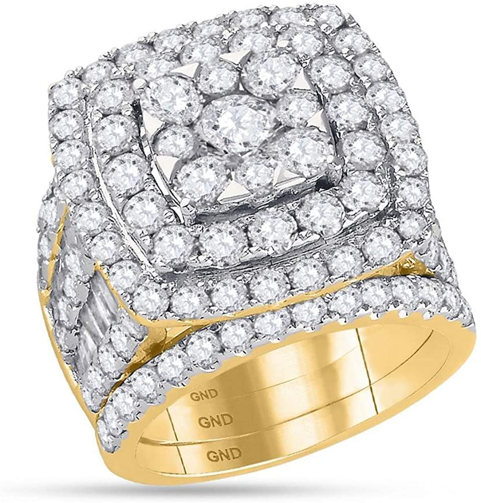 14k Yellow Gold Round Diamond Bridal Engagement Ring Wedding Band Two Piece Set 6.00 Ct.