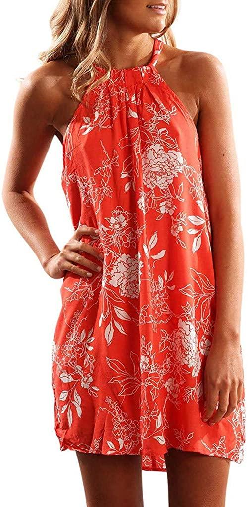 COOKI Dresses Women's Sleeveless Plus Size Boho Vintage Mini Dress Summer Beach Short Mini Dress Party Swing Dress Sundress