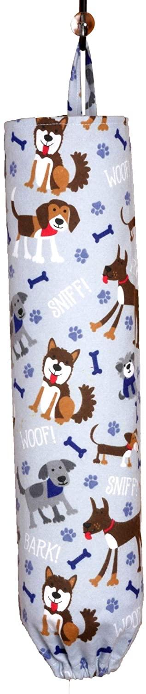 Plastic Bag Holder | Grocery Shopping Bag Organizer | Carrier | Dispenser. Handmade in the USA (Dog Woof on grey)