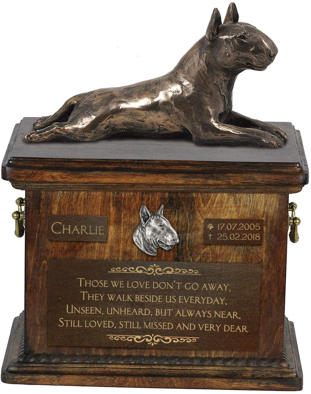 Bull Terrier Lying 2, Urn for Dog Ashes Memorial with Statue, Pet's Name and Quote - ArtDog Personalized