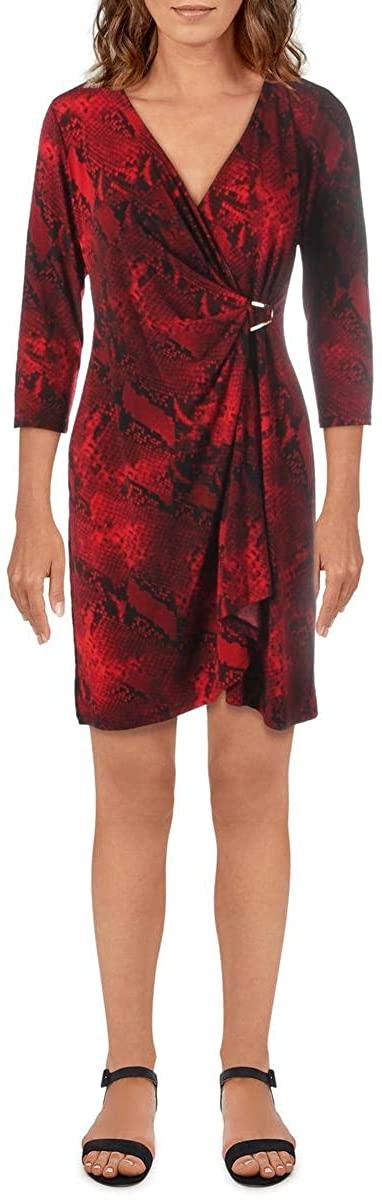 Calvin Klein Womens Snake Print Cocktail Wrap Dress Red S