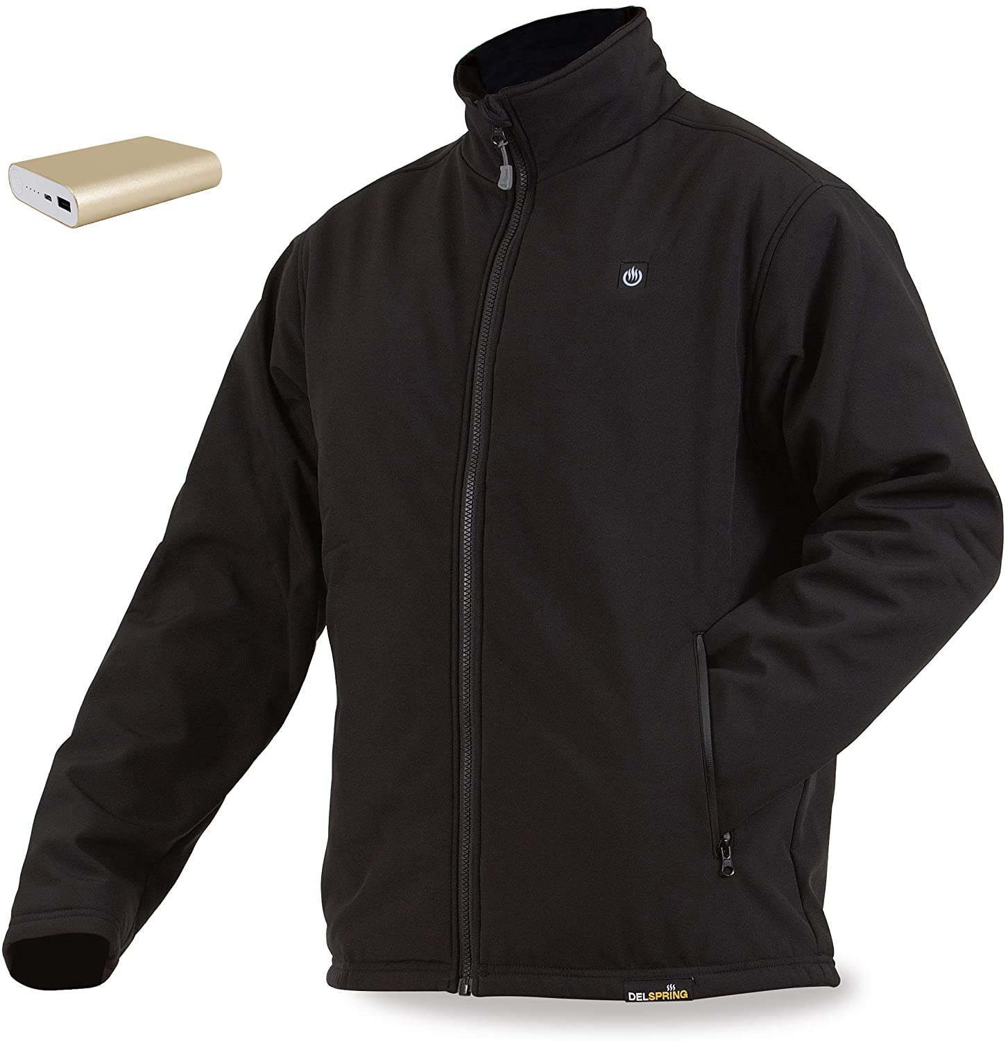 delspring Men's Soft Shell Heated Jacket with Battery 12 Hour- Windproof Heated Jacket for Men