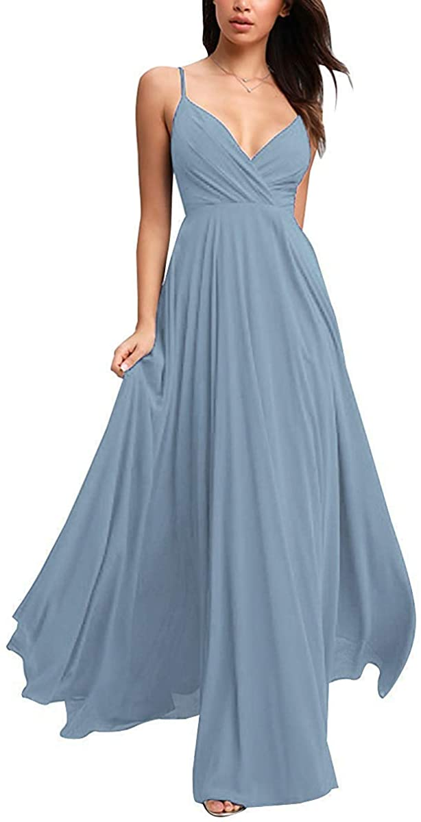 Bridesmaid Dresses,Spaghetti V-Neck Ruched Chiffon Wedding Party Formal Gowns