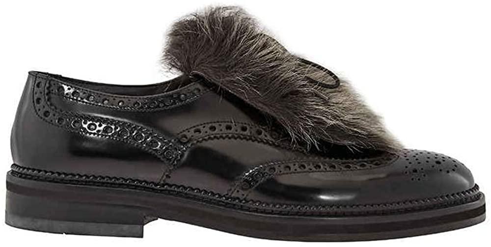 Emporio Armani Men's Lace Up Black Kl Detach Fur Wing Tip Sh, Brand Size