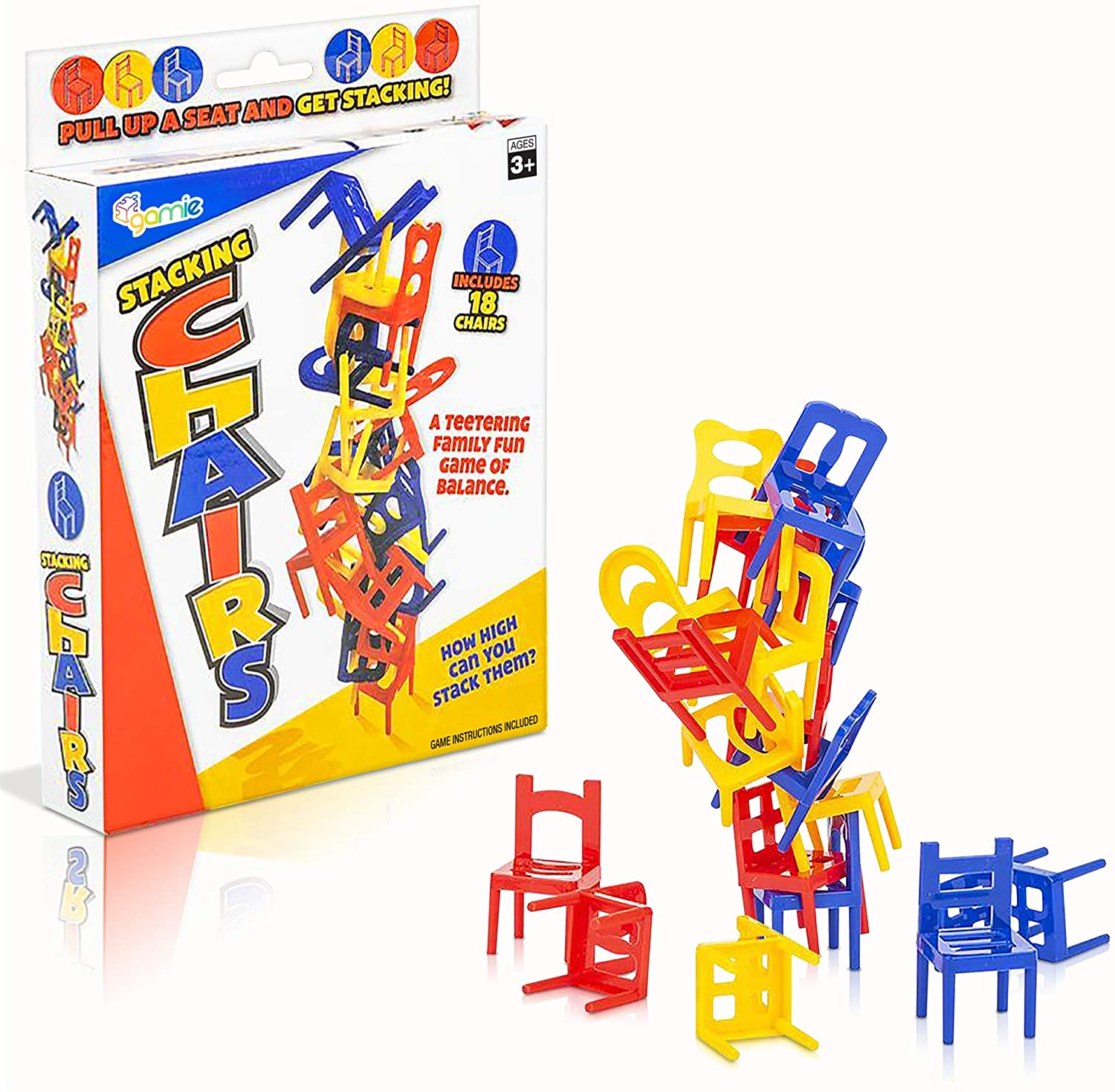 Gamie Balancing Chair Game, 2 Sets, Stacking Chair Games with 18 Mini Chairs & Instruction Guide, New Family Game Night Games for Children, Development Learning Game for Coordination & Balance