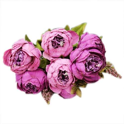 GonNGai 1bouquet 8 Heads Artificial Peony Silk Flower Leaf Home Wedding Party Decor Purple Flower Artificial Peony Leaves Silk