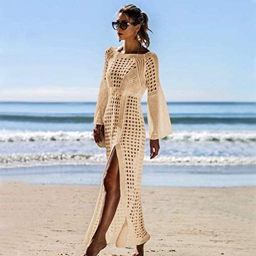 RUIXFLR Soft Women Beachwear Bikini Cover Up Long Swimwear Swimsuit Hollow Out V Neck Knit Beach Bathing Cover Ups Dress for Ladies Soft Quick-Drying Breathable Comfortable and Durable Fabric