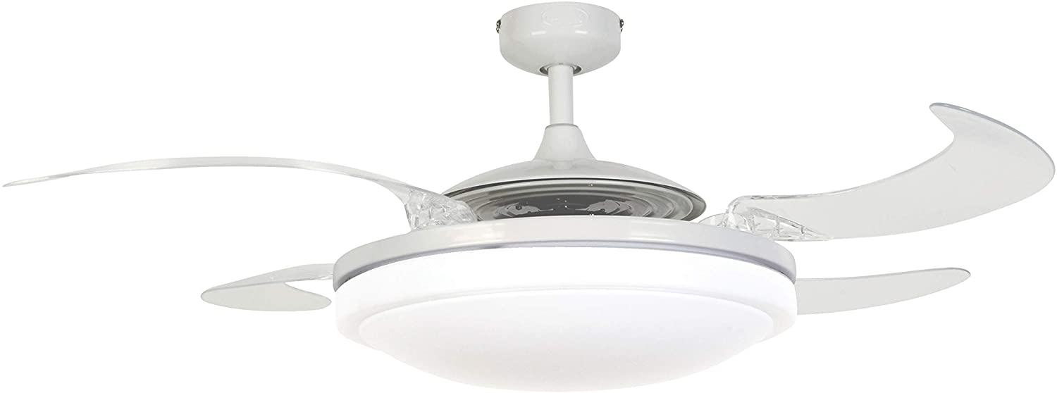 Fanaway 21093001 Evo2 Retractable 4 Lighting with Remote Ceiling Fan, 48 Inch, White with Clear Blades