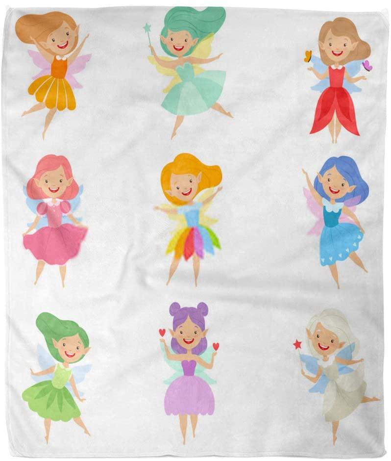 Asjdad Blanket 60 X 80 Inch Cute Beautiful Little Winged Fairies Lovely Girls Hair Dress Colors White Lightweight Fluffy Breathable Warm Room Decoration Blanket Four Seasons