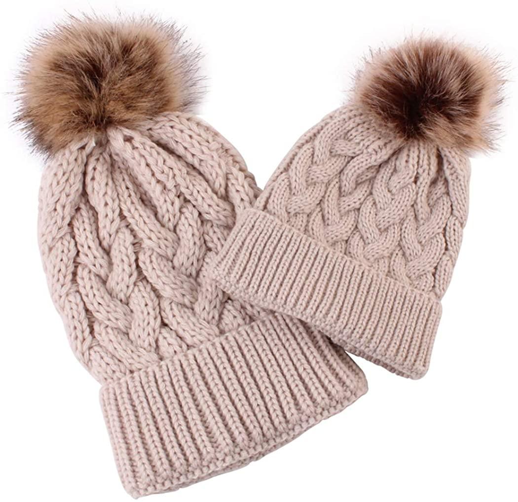 DANMY Parent-Child Beanie Hat, Women's Knitted Beanie Cap, Baby Warm Cap, Earguard Cap,Winter Hat