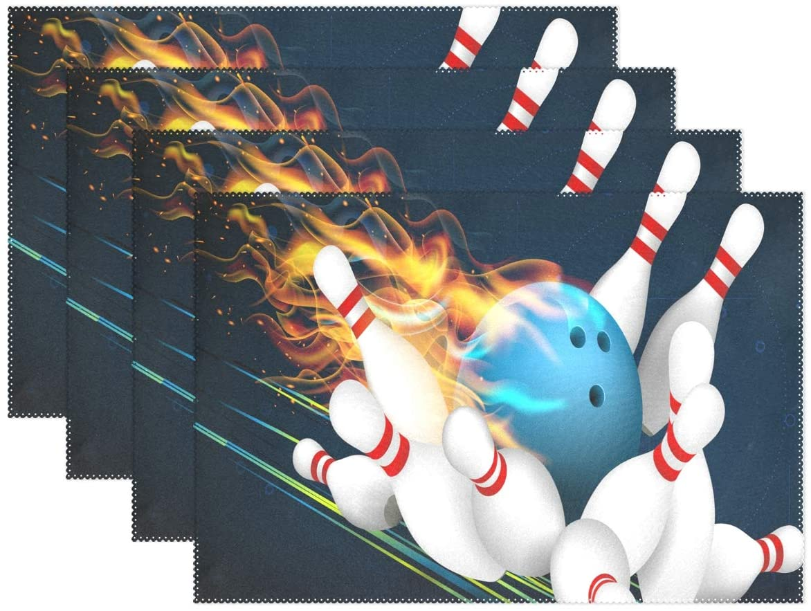 YATELI Placemats Ball Game Blue Bowling Flames Fire 12x18 inch Heat Resistant 1 Piece Non Slip for Dinning Kitchen