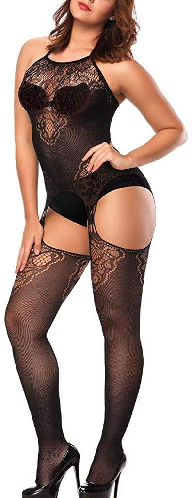 iTLOTL Sexy Womens Lingerie Net Lace Top Garter Belt Thigh Stocking Pantyhose