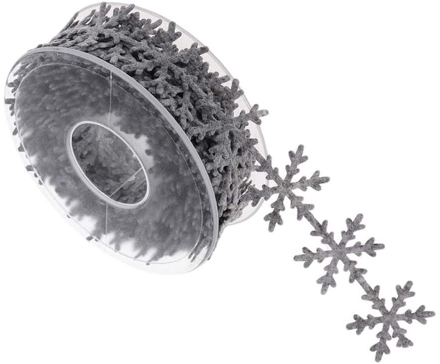 Kloware Christmas Polyester Lace Ribbon Snowflake Ribbon Ornament Crafts Sewing - Grey