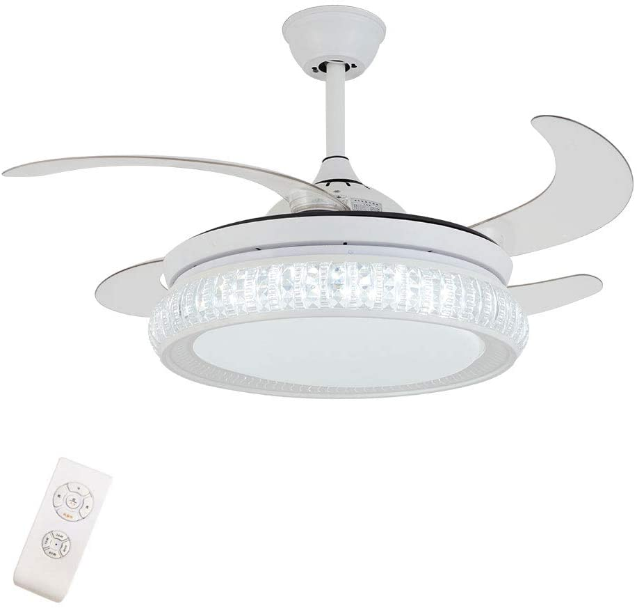 Ceiling Fan 3 Light and 3 Speeds Change Ceiling Fan with Light 42 Inch Modern Crystal Ceiling Fan with Remote Retractable Blade for Living Dining Room Bedroom(White)