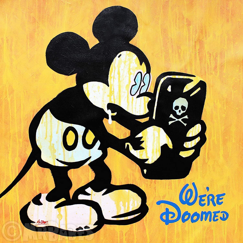 MR.BABES -Mickey Mouse Millennial (Were Doomed) - Original Pop Art Painting - Disney Satire Portrait