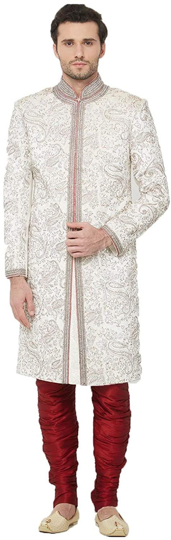 Indian Designer Partywear Traditional Ethnic Velvet Mens Wear Sherwani. Off White