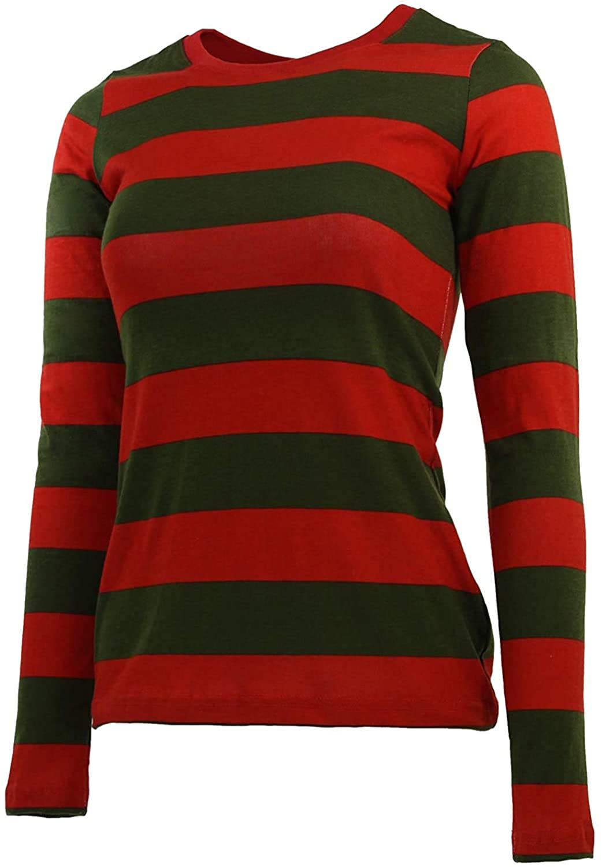 Skycos Adult Freddy Krueger Shirt Costume Halloween Cosplay Striped Nightmare Shirt US Size